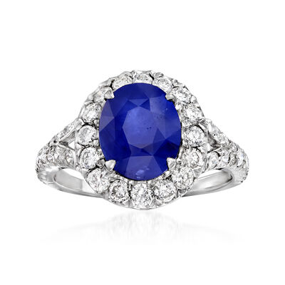 C. 2000 Vintage 3.89 Carat Sapphire and 1.28 ct. t.w. Diamond Ring in 18kt White Gold