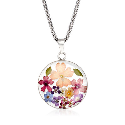 Dried Flower Pendant Necklace in Sterling Silver, , default