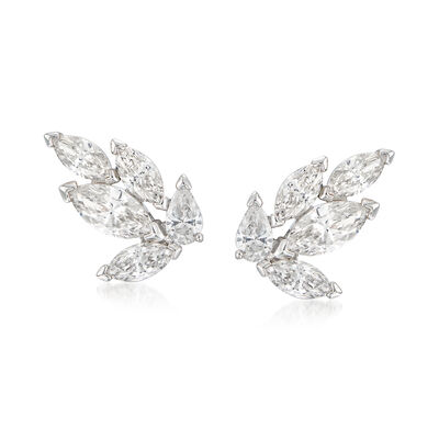 "Swarovski Crystal ""Louison"" Marquise Crystal Stud Earrings in Silvertone, , default"