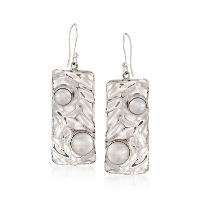 6-8mm Cultured Pearl Hammered Drop Earrings in Sterling Silver