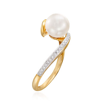 7mm Cultured Pearl and Diamond-Accented Bypass Ring in 14kt Yellow Gold