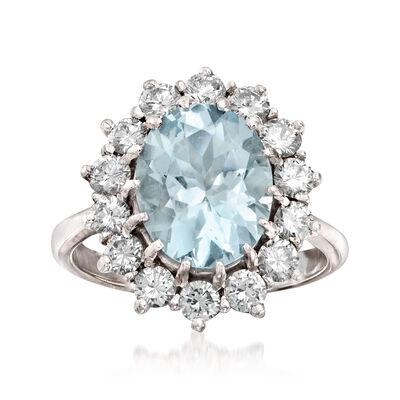 C. 1970 Vintage 3.35 Carat Aquamarine and 1.25 ct. t.w. Diamond Ring in 18kt White Gold, , default