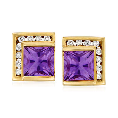 C. 1990 Vintage 1.80 ct. t.w. Amethyst and .20 ct. t.w. Diamond Stud Earrings in 14kt Yellow Gold