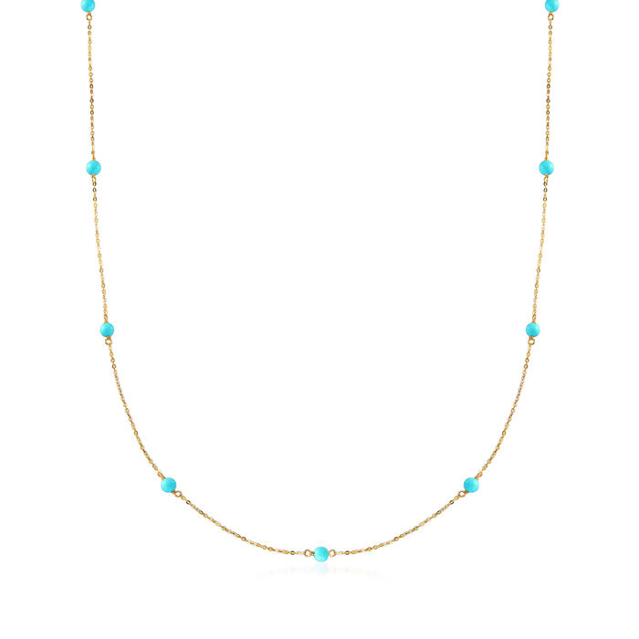 Italian 4mm Turquoise Station Necklace in 14kt Yellow Gold