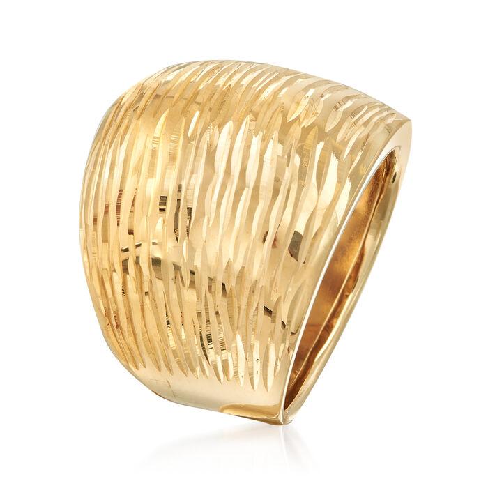 Italian 14kt Yellow Gold Diamond-Cut Dome Ring
