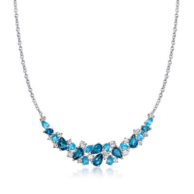 12.10 ct. t.w. Blue and White Topaz Collar Necklace in Sterling Silver