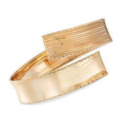 Italian 14kt Yellow Gold Bypass Bracelet. Adjustable Size, , default