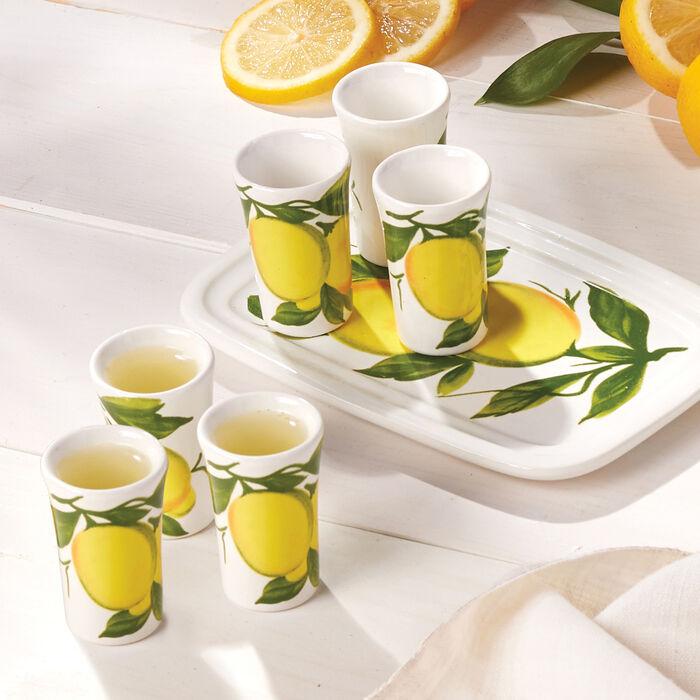 Abbiamo Tutto Italian Limoncello Ceramic Set: Small Tray and Six Glasses