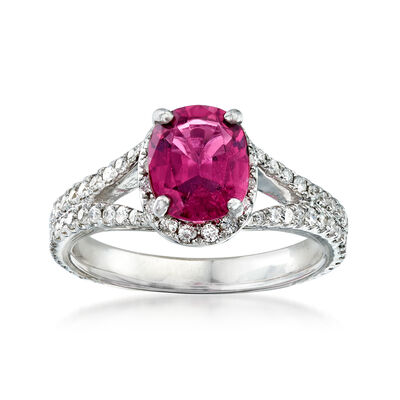 C. 1990 Vintage 1.85 Carat Pink Tourmaline and .85 ct. t.w. Diamond Ring in 14kt White Gold, , default