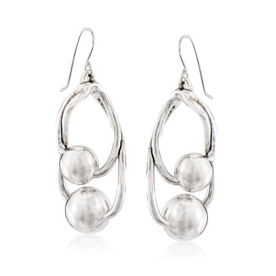 Sterling Silver Double Bead Drop Earrings, , default