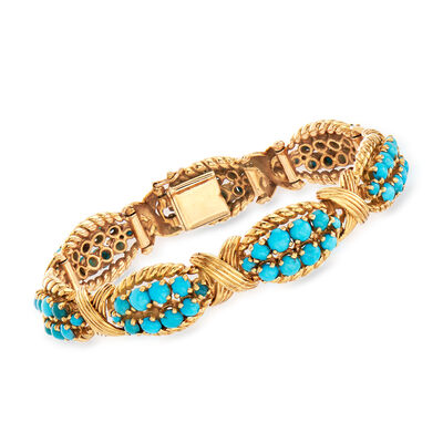 C. 1960 Vintage Turquoise Bracelet in 18kt Yellow Gold