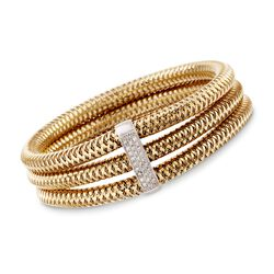 "Roberto Coin ""Primavera"" 1.05 ct. t.w. Diamond Bangle Bracelet in 18kt Two-Tone Gold. 7"", , default"
