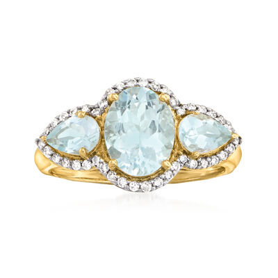 1.70 ct. t.w. Aquamarine and .20 ct. t.w. Diamond Ring in 14kt Yellow Gold