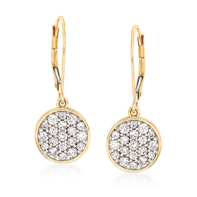 1.00 ct. t.w. Pave Diamond Disc Drop Earrings in 14kt Yellow Gold