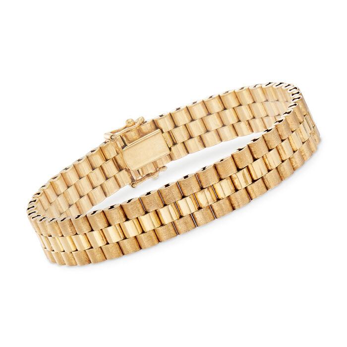 """C. 1980 Vintage 14kt Yellow Gold Link Bracelet. 7.25"""", , default"""