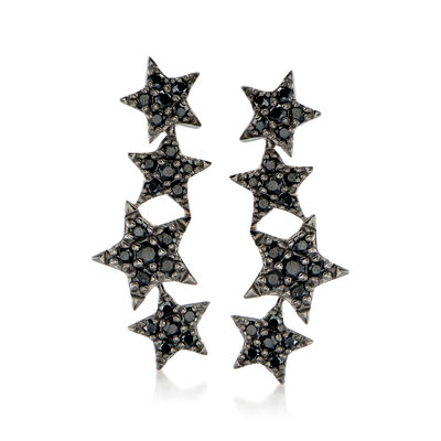 1.70 ct. t.w. Black Spinel Star Ear Climbers in Sterling Silver, , default