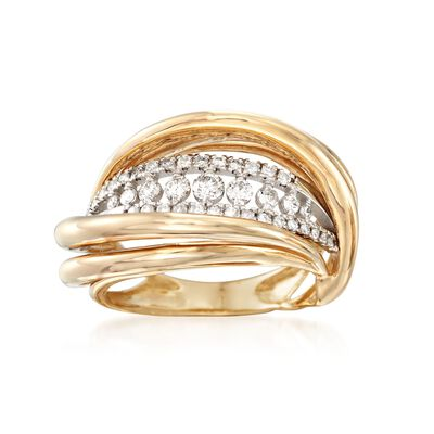 .50 ct. t.w. Diamond Open Wave Ring in 14kt Two-Tone Gold, , default