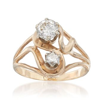 C. 1970 Vintage .93 ct. t.w. Diamond Open-Space Swirl Ring in 14kt Yellow Gold. Size 7, , default