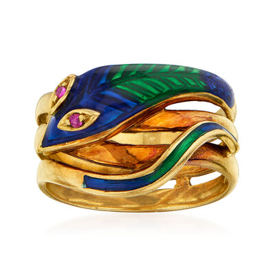 C. 1980 Vintage Ruby-Accented Enamel Snake Ring in 18kt Yellow Gold