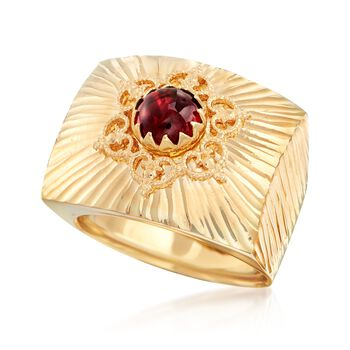 Italian 1.00 Carat Garnet Square-Top Ring in 18kt Yellow Gold, , default