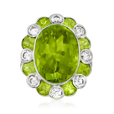 C. 1990 Vintage 15.25 ct. t.w. Peridot and 1.18 ct. t.w. Diamond Ring in 18kt White Gold