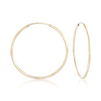 "1.25mm 14kt Yellow Gold Endless Hoop Earrings. 1 1/8"", , default"