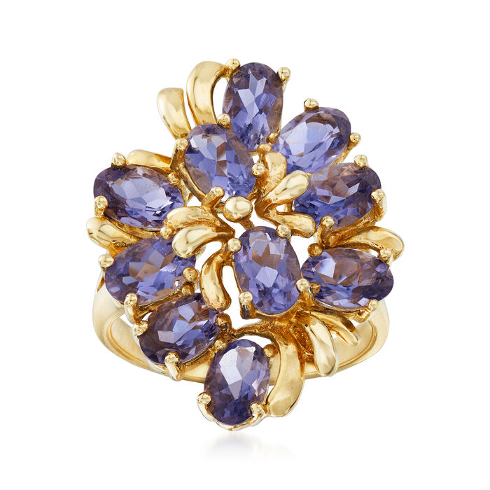 C. 1970 Vintage 3.50 ct. t.w. Iolite Cluster Ring in 14kt Yellow Gold. Size 7, , default