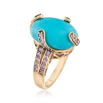 C. 2000 Vintage Turquoise and .55 ct. t.w. Morganite Ring in 14kt Yellow Gold. Size 8.5