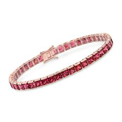 19.00 ct. t.w. Rhodolite Garnet Tennis Bracelet in 18kt Rose Gold Over Sterling Silver, , default