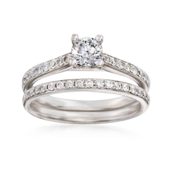 .84 ct. t.w. Diamond Bridal Set: Engagement and Wedding Rings in 14kt White Gold. Size 7