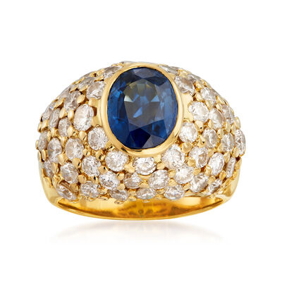 C. 1980 Vintage 3.15 Carat Sapphire and 5.25 ct. t.w. Diamond Dome Ring in 18kt Yellow Gold, , default