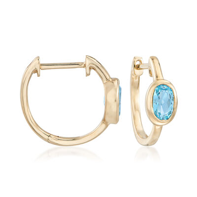 1.00 ct. t.w. Bezel-Set Blue Topaz Hoop Earrings in 14kt Yellow Gold, , default