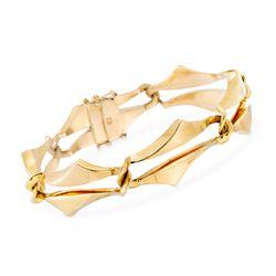 """C. 1980 Vintage Quadri 18kt Yellow Gold Geometric Link Bracelet. 7.5"""", , default"""