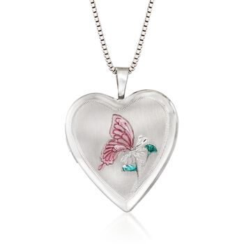 """Sterling Silver Mom & Me Jewelry Set: Two Butterfly Heart Locket Necklaces with Enamel. 14""""-18"""", , default"""