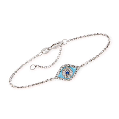 Diamond- and Sapphire-Accented Evil Eye Bracelet in 14kt White Gold