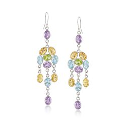 33.00 ct. t.w. Multi-Stone Chandelier Earrings in Sterling Silver, , default