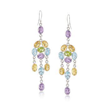 33.00 ct. t.w. Multi-Stone Chandelier Earrings in Sterling Silver, , default
