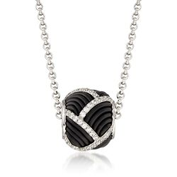 "Belle Etoile ""Striatta"" .95 ct. t.w. CZ and Black Rubber Bead Pendant in Sterling Silver, , default"
