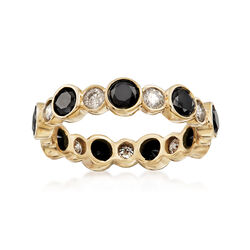 2.00 ct. t.w. Black and White Diamond Eternity Band in 14kt Yellow Gold, , default