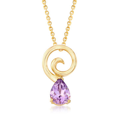 .80 Carat Amethyst Pendant Necklace in 18kt Gold Over Sterling, , default