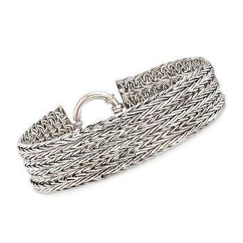 Sterling Silver Multi-Row Wheat-Link Bracelet, , default