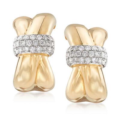 .56 ct. t.w. Diamond Crisscross Drop Earrings in 14kt Yellow Gold, , default