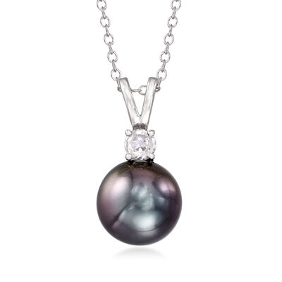 Cultured Tahitian Pearl and .30 Carat White Topaz Pendant Necklace in Sterling Silver