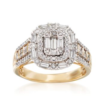 .99 ct. t.w. Baguette and Round Diamond Ring in 14kt Yellow Gold. Size 5, , default