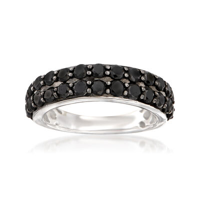 2.00 ct. t.w. Black Diamond Two-Row Ring in Sterling Silver, , default