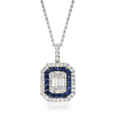.50 ct. t.w. Diamond and .40 ct. t.w. Sapphire Pendant Necklace in 14kt White Gold, , default