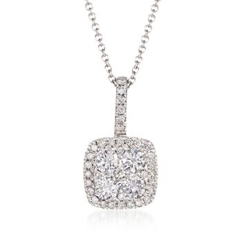 """.67 ct. t.w. Diamond Illusion Pendant Necklace in 18kt White Gold. 18"""", , default"""