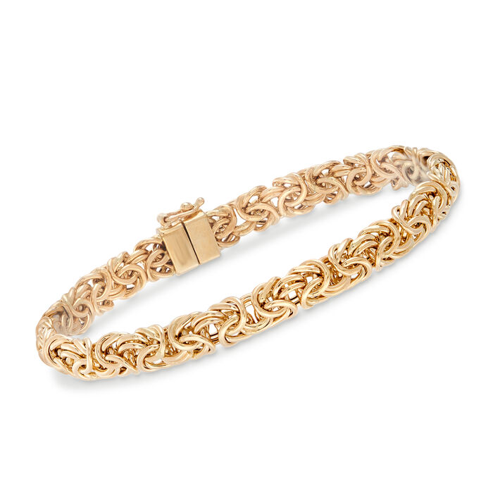 "14kt Yellow Gold Byzantine Bracelet with Magnetic Clasp. 7"", , default"