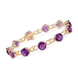 "C. 1990 Vintage 18.15 ct. t.w. Amethyst Link Bracelet in 14kt Yellow Gold. 7.5"", , default"