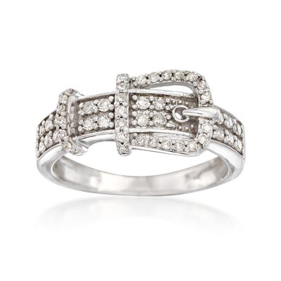 .33 ct. t.w. Diamond Buckle Ring in Sterling Silver, , default